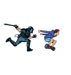 teen skateboarder riot police with a baton vector image