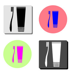 toothbrush and toothpaste flat icon vector image