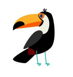 Toucan black cartoon bird icon vector