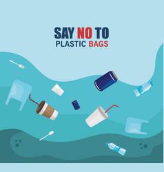 Toxic plastics waste in sea contamination vector