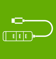 usb adapter connectors icon green vector image
