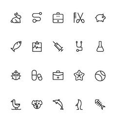 Veterinary Outline Icons 3 vector