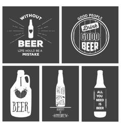 Vintage beer emblems labels and design elements vector image