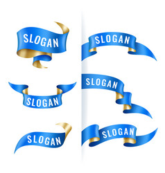 Vintage blue and gold ribbons set banner template vector