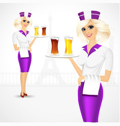 waitress carrying beer on tray vector image