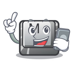 with phone button m on a keyboard mascot vector image