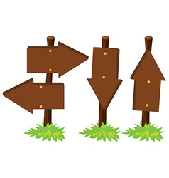Wooden arrow sign on poles vector