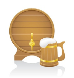 wooden beer mug and barrel vector image vector image