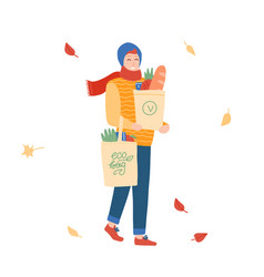 young man with paper ang reusable bags of vector image