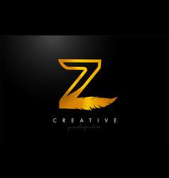 Z golden gold feather letter logo icon design vector