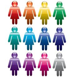 colorful woman symbols vector image vector image