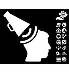 Propaganda Megaphone Icon with Tools Bonus vector image