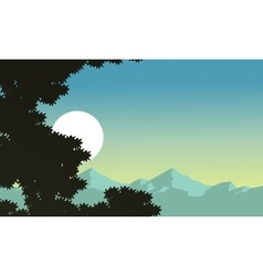 At night tree and mountain background scenery vector image