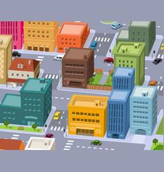 cartoon city - downtown scene vector image vector image