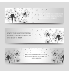 Dandelions and seeds horizontal banners set vector