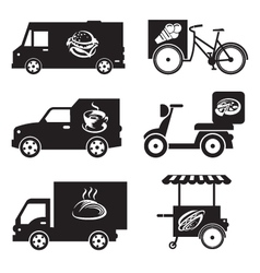 food transport icons vector image vector image
