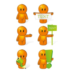Orange man performs actions vector image vector image