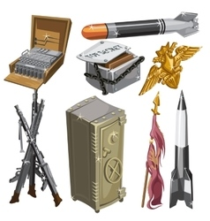 Rocket flag weapons and other isolated objects vector image