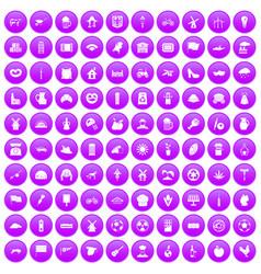 100 mill icons set purple vector