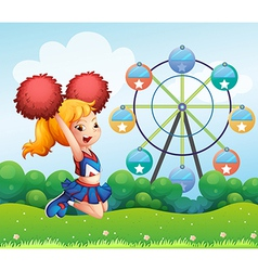A cheerleader at the hill vector image vector image