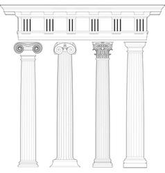 classic columns set vector image vector image