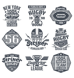 College team rugby retro vintage emblems vector image