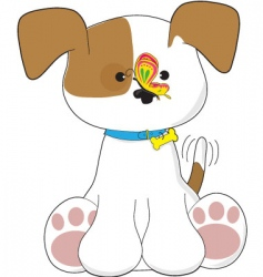 cute puppy and butterfly vector image vector image