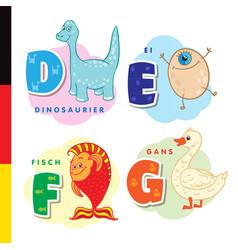 deutsch alphabet dinosaur egg fish goose vector image