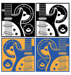 electronic guitar and speaker systems vector image