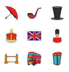 british kingdom icons set cartoon style vector image