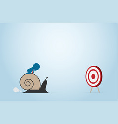 businessman moving slowly to dart board with snail vector image vector image