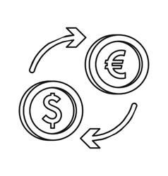 Euro dollar euro exchange icon outline style vector image vector image