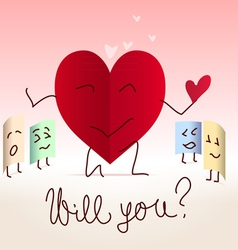 Paper heart shaped note proposal vector