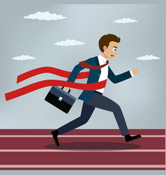running businessman crosses a red ribbon vector image vector image
