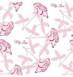 Seamless pattern with pink rose1-02 vector image vector image