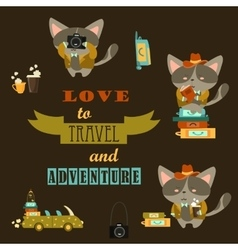 Set of cats travelers vector image vector image