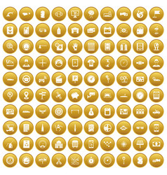 100 auto repair icons set gold vector image