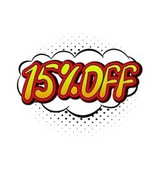 15 percent off comics icon vector