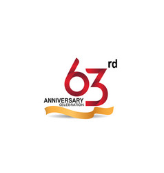 63 anniversary design logotype red color vector