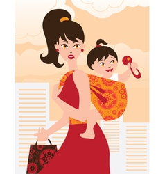 Active mother with baby girl in a sling vector