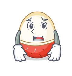 Afraid rambutan mascot cartoon style vector