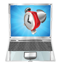 alarm clock icon laptop concept vector image