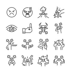 angry line icon set vector image