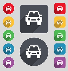 Auto icon sign A set of 12 colored buttons and a vector image