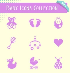 Baby icons vintage collection vector