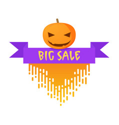 badge for halloween with pumpkinbig sale badge vector image