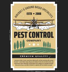 Biplane crop duster and farmland pest control vector