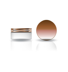 Blank white cosmetic round jar with copper lid vector
