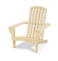 Bright wooden beach chair vector