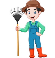 cartoon farmer holding a rake vector image